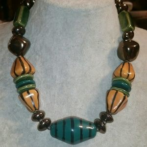 Handmade Ceramic Earth Colors Statement Necklace